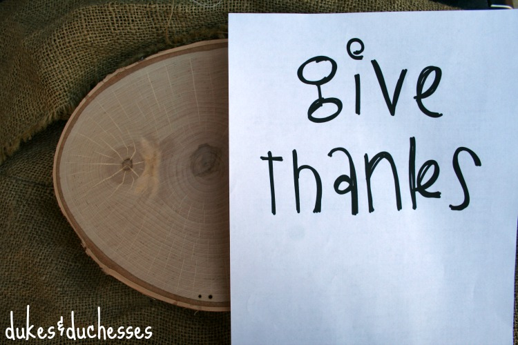 supplies for give thanks sign
