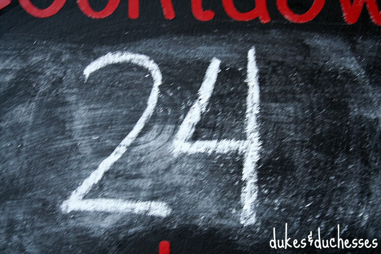 chalk numbers on christmas countdown