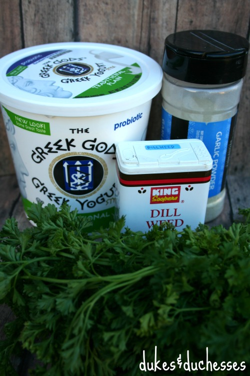 ingredients for savory dill dip
