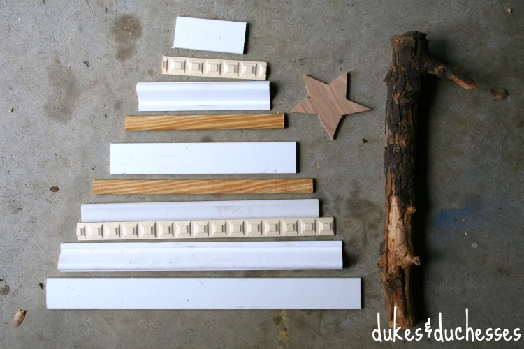 materials for rustic scrap wood christmas tree