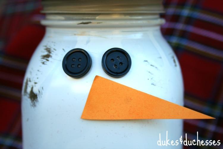 snowman face on mason jar d