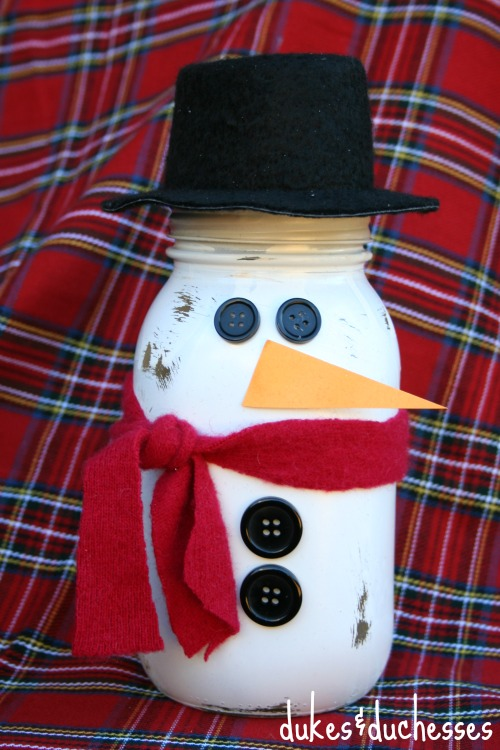 snowman mason jar hot cocoa gift