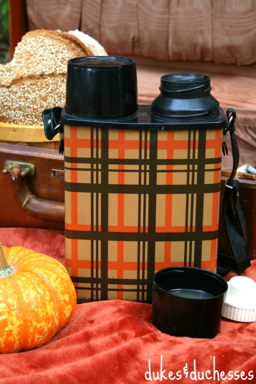 vintage thermos for a fall picnic