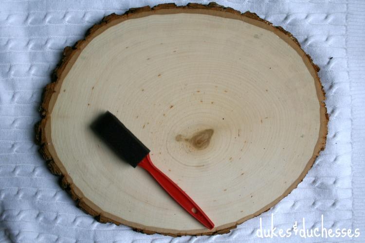wood slice chalkboard