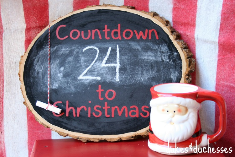 wood slice christmas countdown