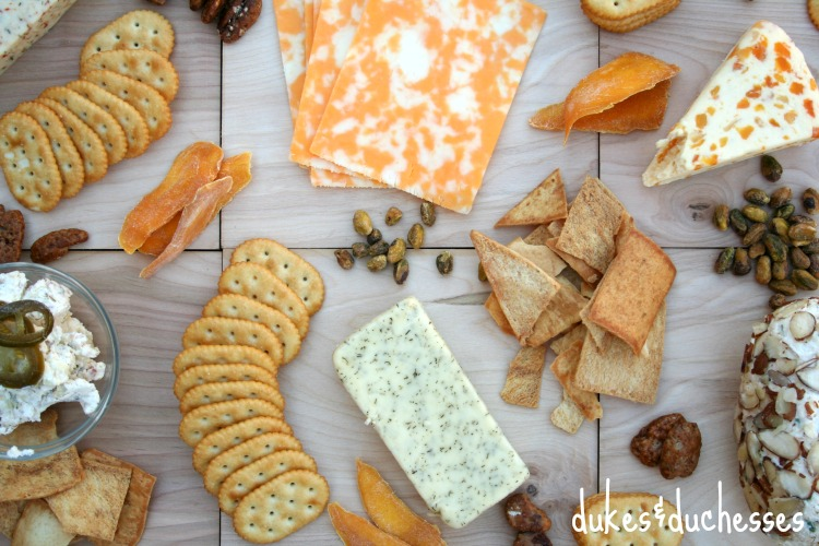 a rustic cheese platter