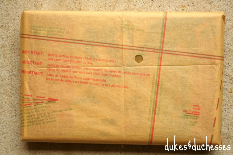 gift wrapped with vintage sewing pattern