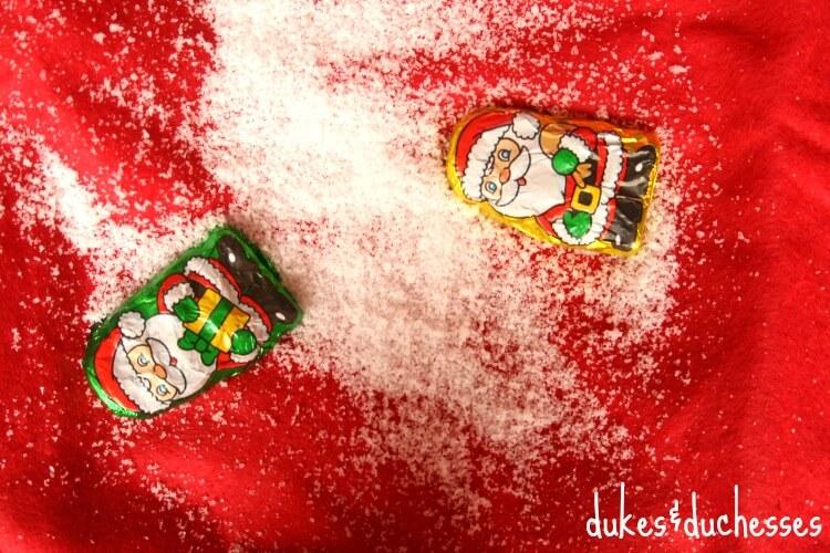 santa claus confetti and snow