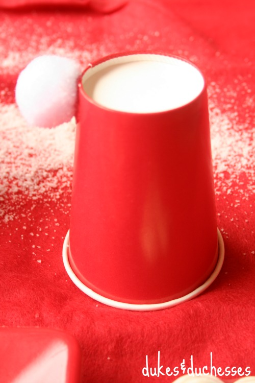 santa claus cups for christmas tablescape for kids