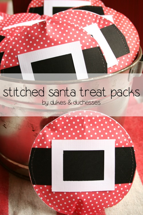 stitched santa treat packs