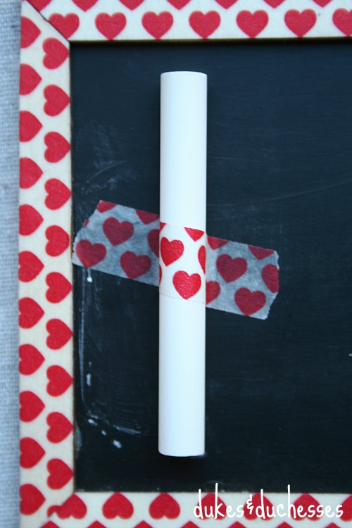chalk with washi tape on chalkboard valentine