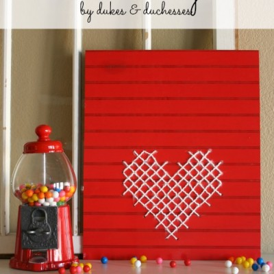 Cross-Stitch Wood Heart Sign