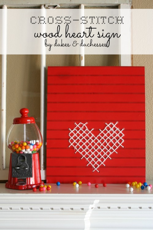 cross stitch wood heart sign
