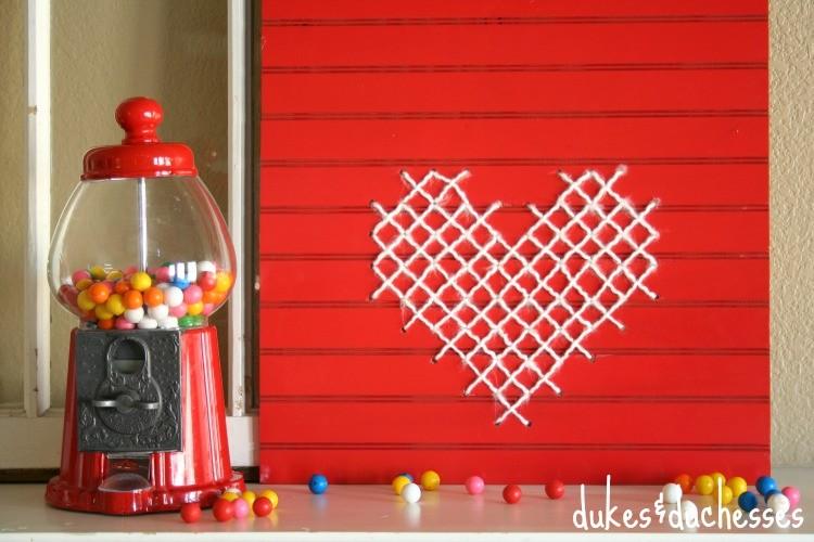 Cross-Stitch Wood Heart Sign