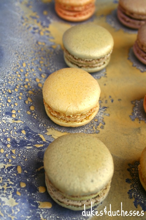 edible metallic gold spray paint on macarons