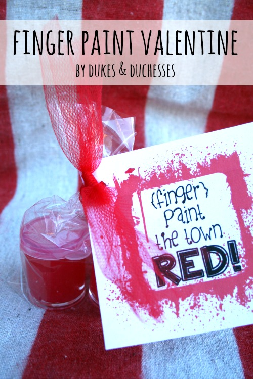 finger paint valentine with a free printable