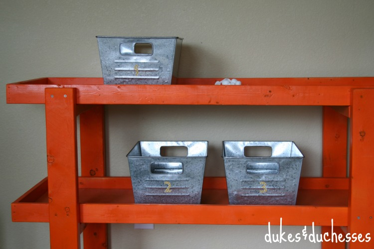 galvanized storage with washi tape labels
