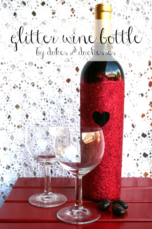 glitter wine bottle