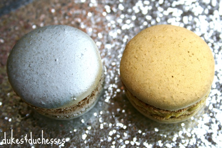 gold and silver metallic macarons