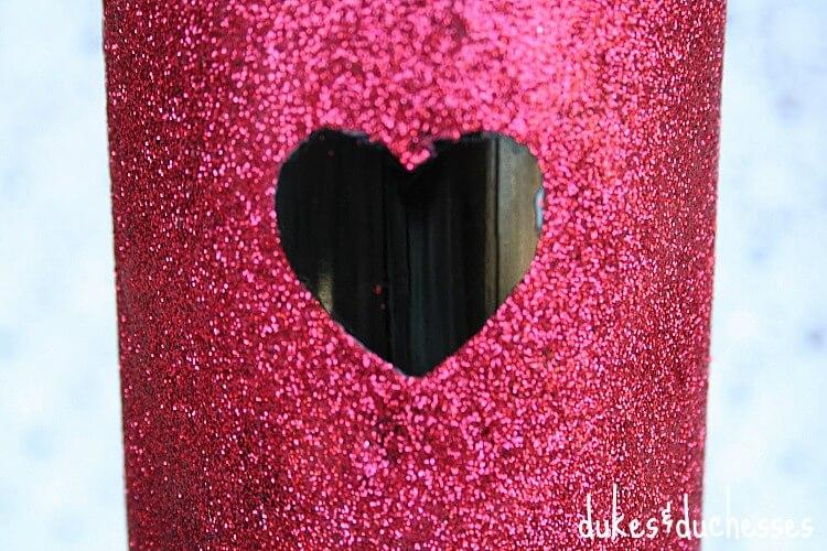 heart on glitter bottle