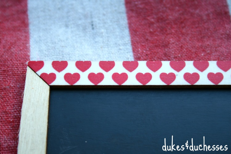 washi tape on frame of chalkboard for chalkboard valentine