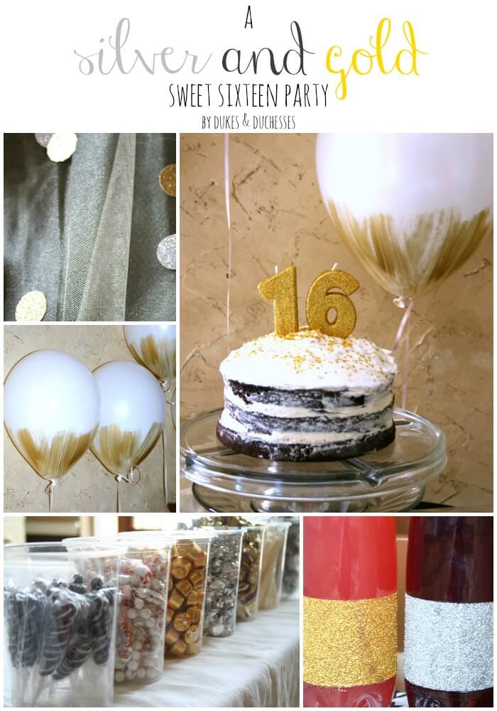 a silver and gold sweet sixteen party