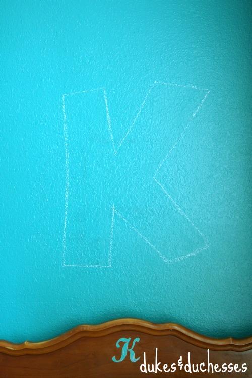 chalk outline for monogram wall string art