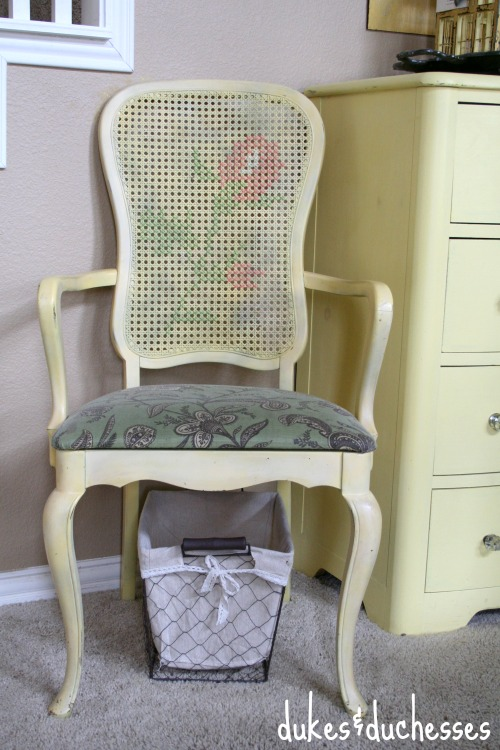 cross stitching on a chair