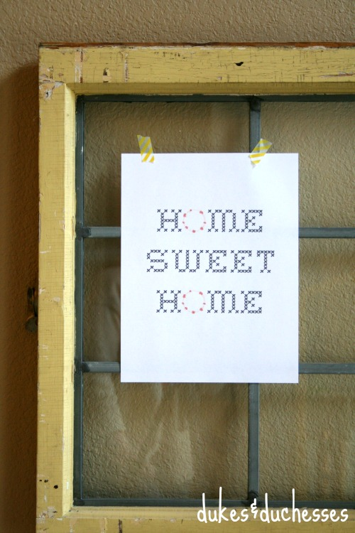 home sweet home printable with wreath