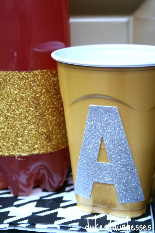 monogrammed cups for metallic party
