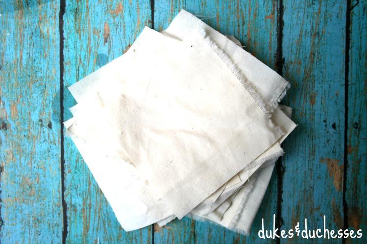 muslin scraps for DIY dryer sheets
