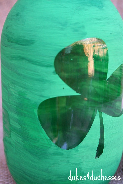 painted mason jar for st patrick's day