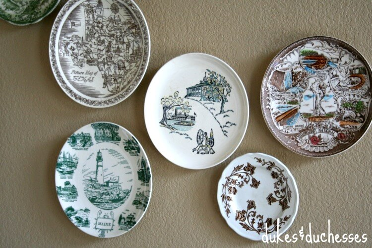 vintage plates from thrift shop for plate wall
