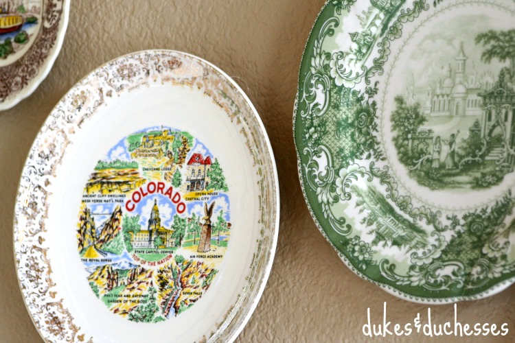 vintage travel plates for plate wall