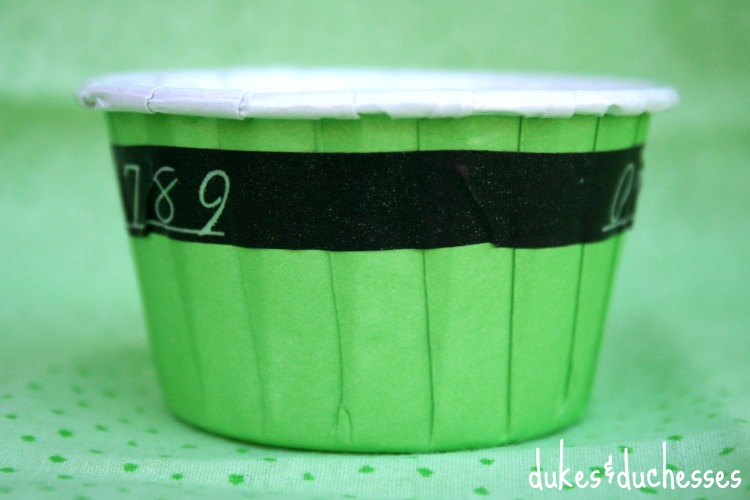 washi tape belt on st patrick's day treat cups