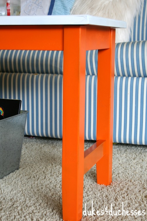 painted legs on color block bench and coffee table