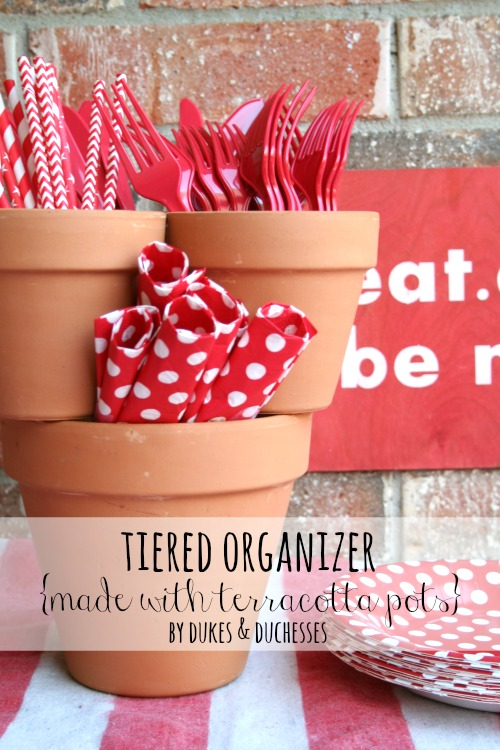 tiered organizer made from terracotta pots