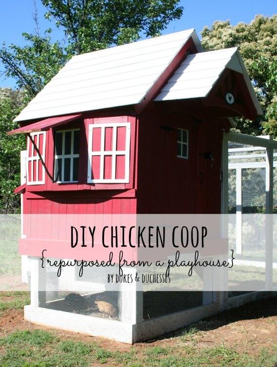 DIY chicken coop repurposed from playhouse