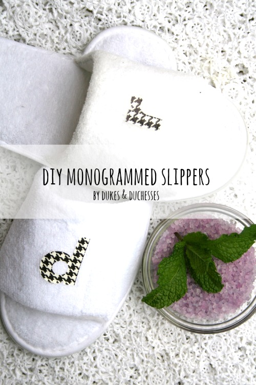 DIY monogrammed slippers