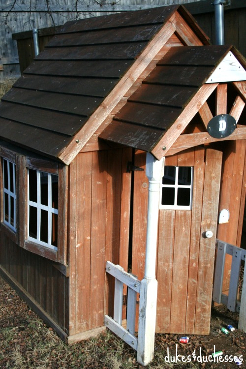 before photo of wooden playhouse
