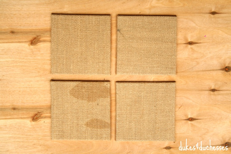 burlap canvases for coasters