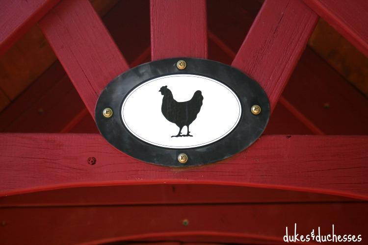 chicken sticker on chicken coop