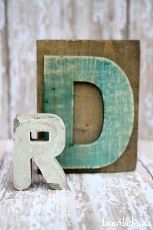 concrete letter monogram