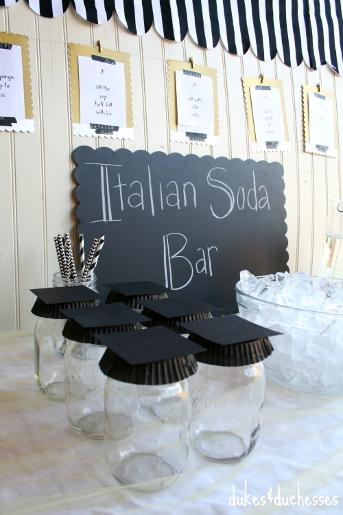 graduation mason jars for italian soda bar