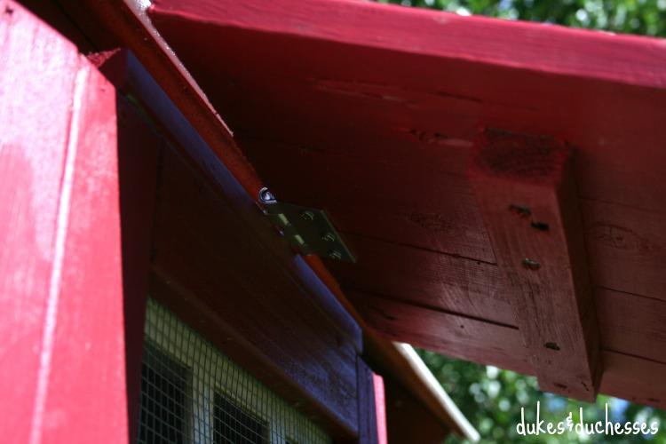 hinged window on chicken coop