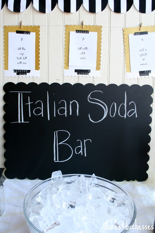 italian soda bar party idea