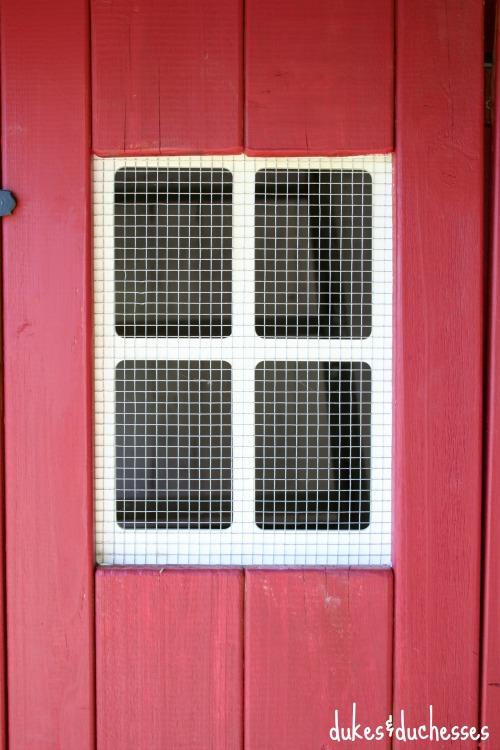 screened window on chicken coop
