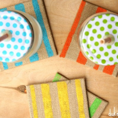 Painted Burlap Coasters