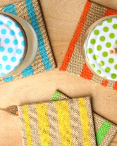 striped burlap coasters