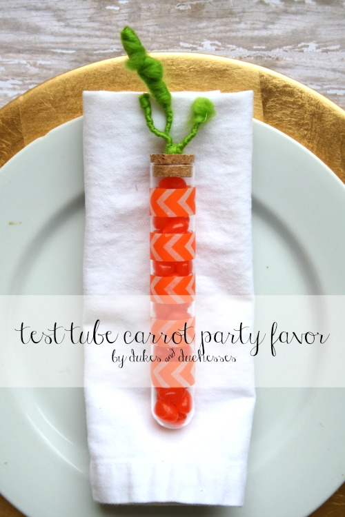 test tube carrot party favor